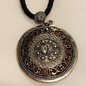 Lia Sophia Black Cord Necklace with Madallion